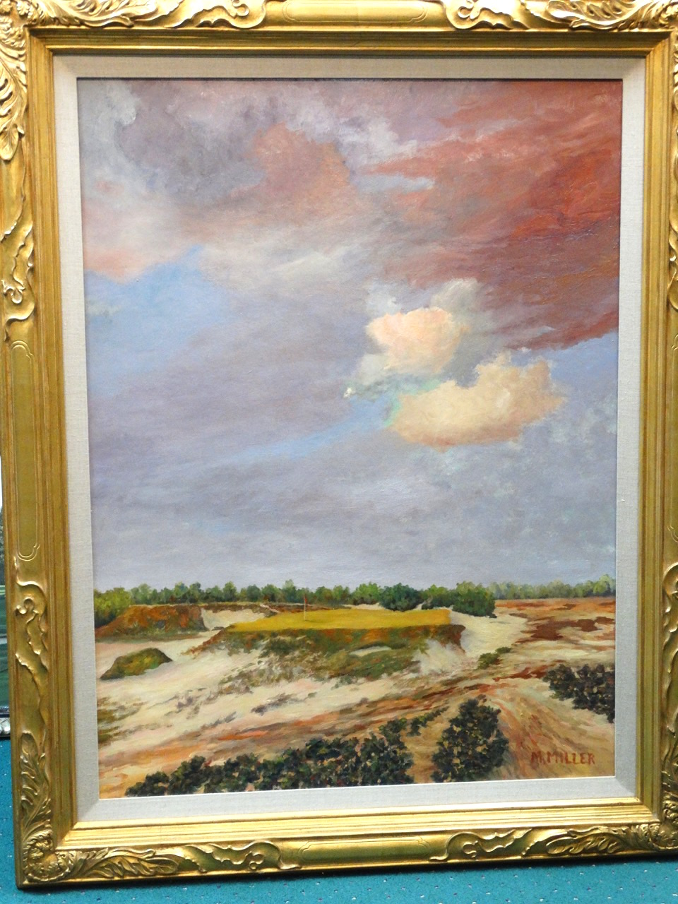 Lot detail original oil painting of pine valley 10th - Minimum temperature for painting ...