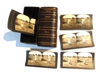 ORIGINAL STEREOGRAPHIC LIBRARY SET IN ORIGINAL CASE FEATURING FAMOUS PLAYERS INCLUDING BOBBY JONES - 20 PHOTOS