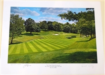 SIGNED BY JACK NICKLAUS LITHOGRAPH OF MUIRFIELD 14TH HOLE AND SIGNED BY ARTIST RICHARD CHORLEY - LIMITED EDTIION