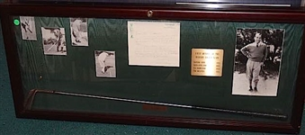 SARAZEN SHADOW BOX WITH CLUB USED AT MASTERS WITH HIS LETTER OF VERIFICATION