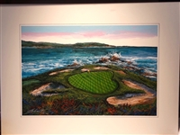 ORIGINAL ACRYLIC PAINTING ON CANVAS OF THE ICONIC 7th HOLE AT PEBBLE BEACH BY THOMAS LEGAULT