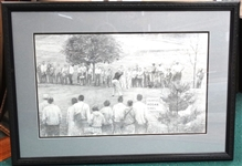 FRAMED BEN HOGAN- ORIGINAL DRAWING BY MICHAEL HESLOP AT WESTCHESTER OPEN IN 1940
