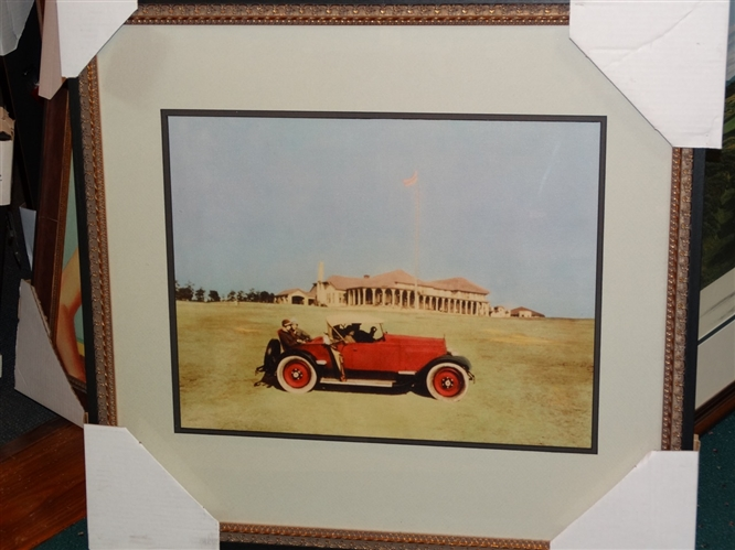 RARE PHOTO OF DONALD ROSS DRIVING HIS RED ROADSTER IN FRONT OF PINEHURST CLUB HOUSE