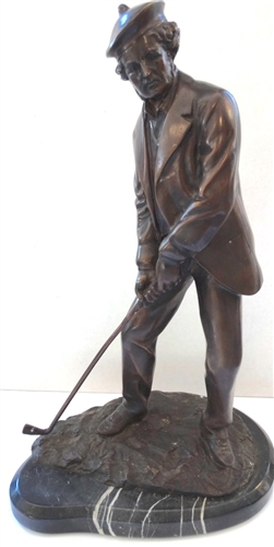 "YOUNG TOM MORRIS BRONZE SCULPTURE WITH MARBLE BASE, 18"" TALL"