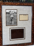 SIGNED FRANCIS OUIMET POST CARD WITH PHOTOS AND DESCRIPTION OF HIS CAREER IN A MUSEUM FRAMED COLLAGE