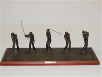"BRONZE STATUE "" THE FULL SWING"" SEQUENCE OF JACK NICKLAUS - VERY RARE WITH PGA MEDAL"