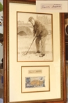 "OLD TOM MORRIS ORIGINAL SIGNATURE WITH ORIGINAL PORTRAIT BY ARTHUR WEAVER. FRAMED SIZE 15.5"" X 29"""