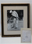 "SIGNED HENRY COTTON LETTER ON THE BACK OF BEN HOGAN PHOTO, WITH COMMENTARY ON HOGANS GRIP. FRAMED SIZE 13"" X 15"""