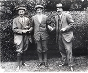 RARE BLACK AND WHITE PHOTOGRAPH OF FRANCIS OUIMET WITH HARRY VARDEN AND TED RAY AFTER OUIMET WON THE U.S. OPEN IN 1913