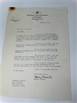 SIGNED STANLEY MUSIAL LETTER TO FRED CORCORAN (TOURNAMENT DIRECTOR) DATED 1949