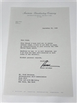SIGNED LETTER BY ROONE ARLEDGE (SPORTS AND NEWS BROADCASTER NAD PRESIDENT OF ABC SPORTS) TO FRED CORCORAN