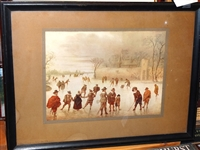 EARLY DUTCH PAINTING OF GOLF ON ICE WHICH HUNG IN DONALD J. ROSS OFFICE - SIGNED ON BACK BY DONALD J. ROSS