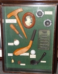 HISTORIC SHADOW BOX WITH TOOLS FOR MAKING FEATHERY GOLF BALL, GOLF MOULDS AND EARLY CLUBHEADS
