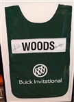 "TIGER WOODS AND STEVIE WILLIAMS SIGNED CADDY BIB FROM WIN AT 2009 BUICK OPEN SIZE 22"" X 33 1/2"" FRAMED. INCLUDES 501-c3"