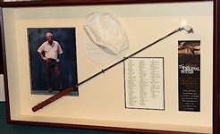 ARNOLD PALMER SHADOW BOX WITH ORIGINAL PUTTER SIGNED ON THE GRIP WITH SIGNED PENNZOIL HAT