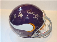 SIGNED BY PAGE, MARSHALL AND ELLER -PURPLE PEOPLE EATERS AUTHENTIC PROLINE F/S HELMET VIKINGS TB