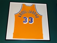 SIGNED NBA KAREEM ABDUL-JABBAR LOS ANGELES LAKERS JERSEY FRAMED IN SHADOW BOX