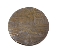 "ST. ANDREWS BRONZE RELIEF PLAQUE LIMITED EDITION BY BRAD PEARSON, SIZE 6 1/4"" IN DIAMETER"