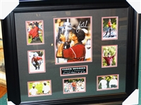 TIGER WOODS SIGNED PHOTO IN THE COLLAGE WITH 8 PHOTOS, FRAMED. LIMITED EDITION # 42 OF 100 WITH COA