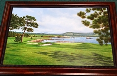 "ORIGINAL OIL ON CANVAS PAINTING OF PEBBLE BEACH 18TH HOLE BY DAVID CHAPPEL 20"" X 30"" IMAGE SIZE"