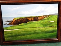 "ORIGINAL OIL ON CANVAS PAINTING OF PEBBLE BEACH 8TH HOLE BY DAVID CHAPPLE. MUSEUM FRAMED SIZE 26"" X 36"